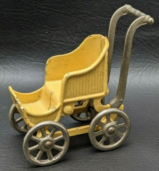 KILGORE Antique Cast Iron Baby Buggy Doll House Carriage Stroller Yellow