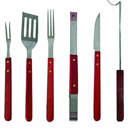 6 PCS BBQ Grill Set Stainless Steel Wooden Handle Grilling Barbecue Accessories