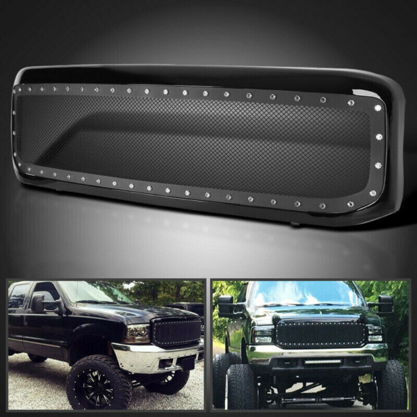 NEW Black Steel Mesh Rivet Grille For 99 04 00 01 02 03 Super Duty F250 F350 SS
