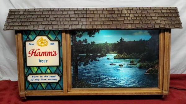 VINTAGE HAMM#x27;S BEER SCENE O RAMA WATERFALL CAMPFIRE MOTION SIGN EXCELLENT amp; WO