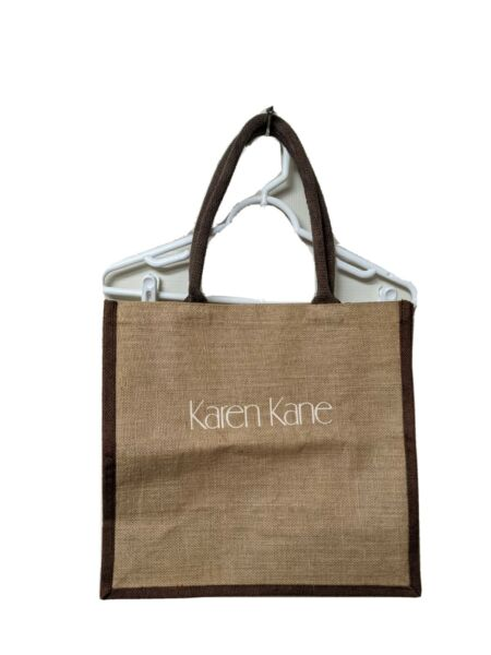 Karen Kane tote bag burlap brown and tan
