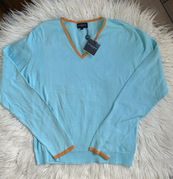 Burberry Women's Golf V Neck Pullover Sweater XL NWT $86.00