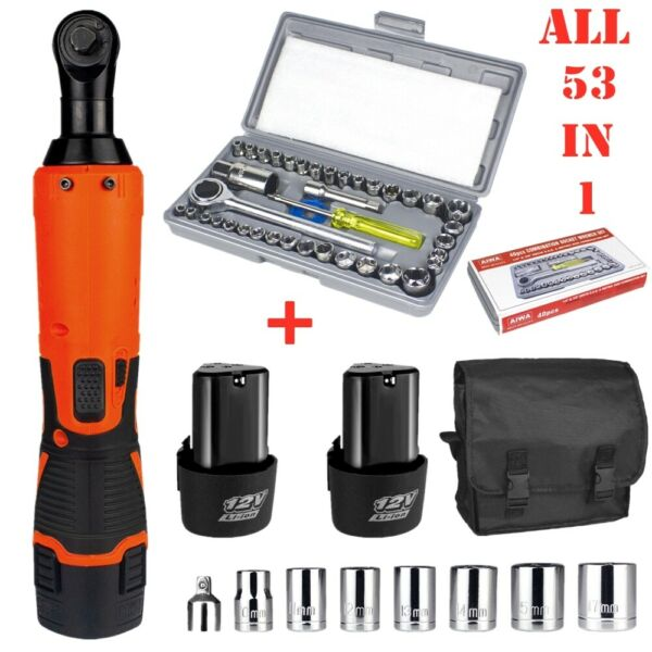 53PCS 3 8quot; 1 4quot; Electric Cordless Ratchet Wrench 12V Impact Power Tool2 Battery $56.98