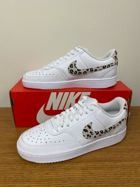 Nike Women#x27;s Court Vision Low Shoes White Leopard Print DD9655 100 NEW $52.99