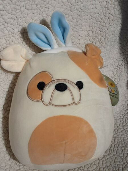 SQUISHMALLOWS Bull Dog With Bunny Ears Easter Limited Edition 8quot; NWT $10.99