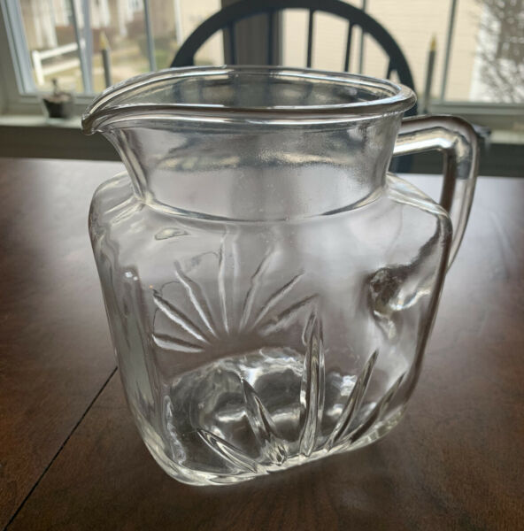 Vintage Federal Clear Pressed Glass Pitcher with Star Bottom