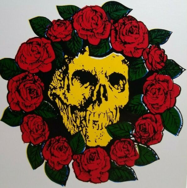 Grateful Dead Car Window Decal 1980s Bertha Yellow Face Skull Bed Of Red Roses