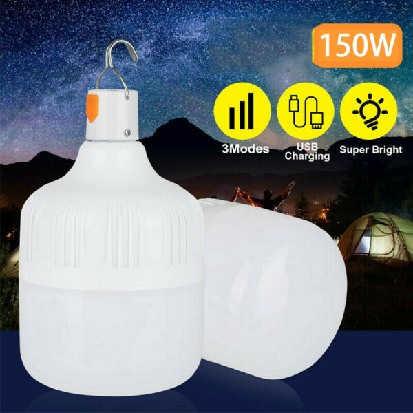 150W Rechargeable LED Emergency Light Bulb Portable Camping Tent Hanging Lamp US