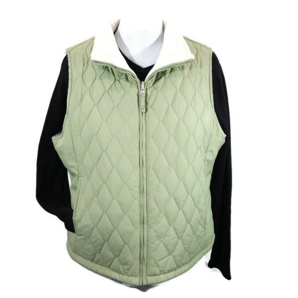 Womens Free Country Quilted Reversible Faux Fur Lined Green White Vest sz XL $10.00