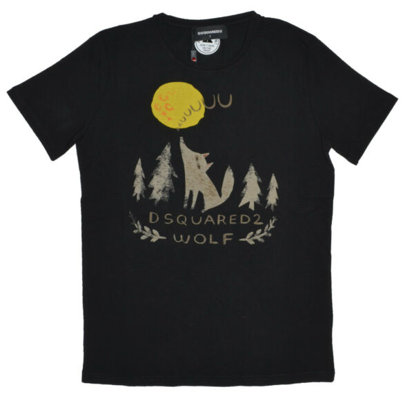 New With Tags Mens Dsquared T Shirt funny DSQ Wolf Black Color Sz S Great Gift $97.33