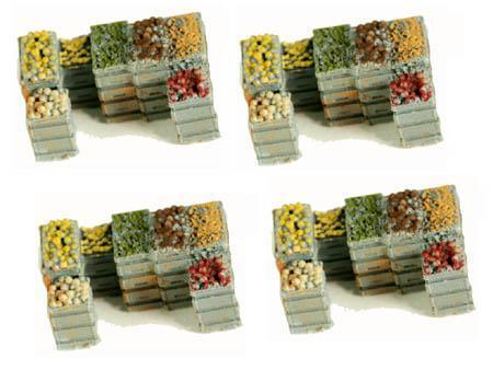 PRODUCE Crates PRODUCE Crates Loaded with VEGES and FRUIT 4 Pack HO scale