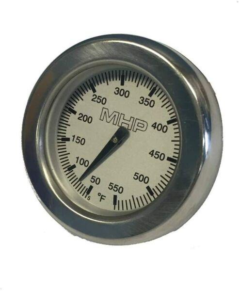 MHP Gas Grill Round Stainless Temperature Gauge for Grill Hood 2 5 8quot; GGTG4