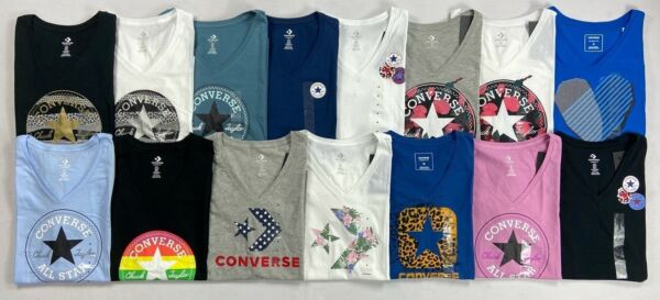 Women#x27;s Converse All Star Chuck Taylor Classic Fit Cotton V Neck T Shirt