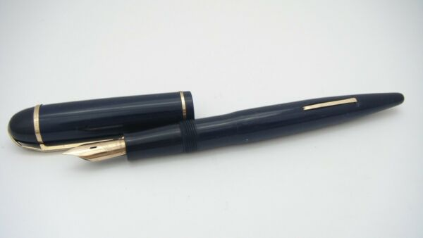 GORGEOUS EVERSHARP SKYLINE DARK BLUE SEMI FLEX 14K FINE NIB MADE IN USA
