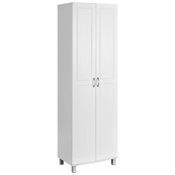 2 Door Tall Storage Cabinet Kitchen Pantry Cupboard Organizer Furniture White