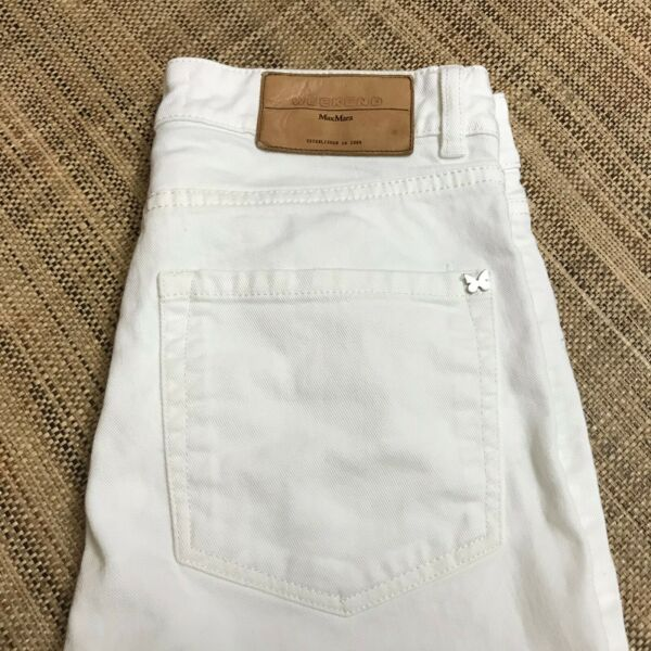 Max Mara Weekend Women#x27;s Mid Rise Cropped Flare Jeans White Denim Size 6 $29.99