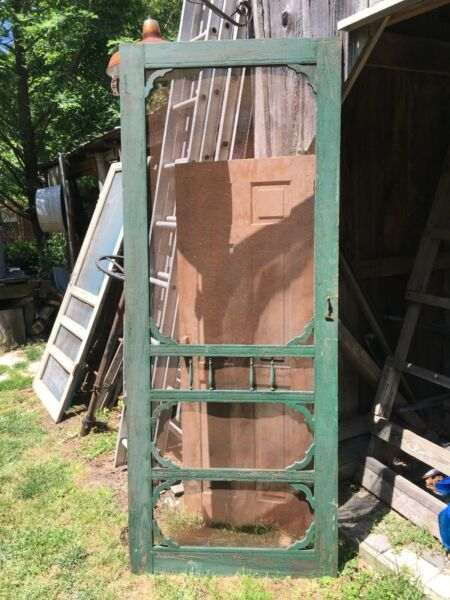"""TALL vintage screen door Victorian age Green paint 80"""" x 32"""" x 3 4"""" solid"""