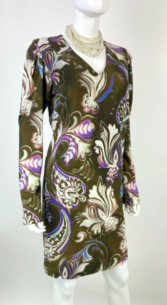 Etro New 8 US 44 IT M Brown Purple White Floral Stretch Sheath Dress Runway Auth $117.00