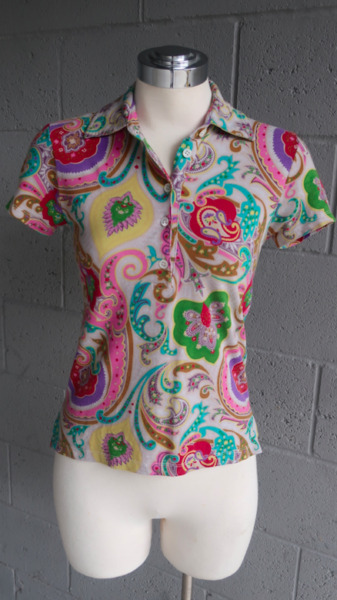 ETRO Multicolor Paisley Print Collared Short Sleeve Polo T Shirt Small or XS $56.99