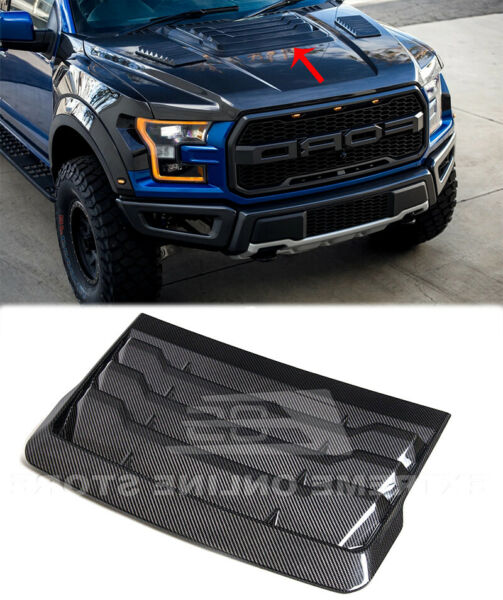CARBON FIBER Louver Cover Hood Vent For 17 Up Ford F 150 Raptor Factory Style $599.98