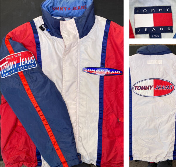Vintage Tommy Hilfiger Jeans Jacket Sport Edition Puffer 90s Lotus Spell Out L $39.99