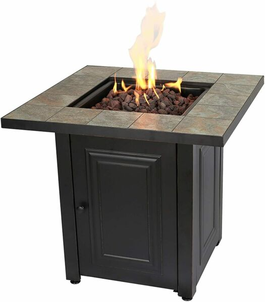 Fire Pit Table Propane Gas Tiled Top Patio Heater Fireplace Bronze Finish New