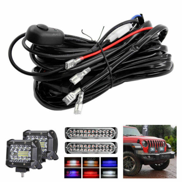 LED Work Light Bar Wiring Harness Kits 18AWG with Laser Etched Switch and Relay