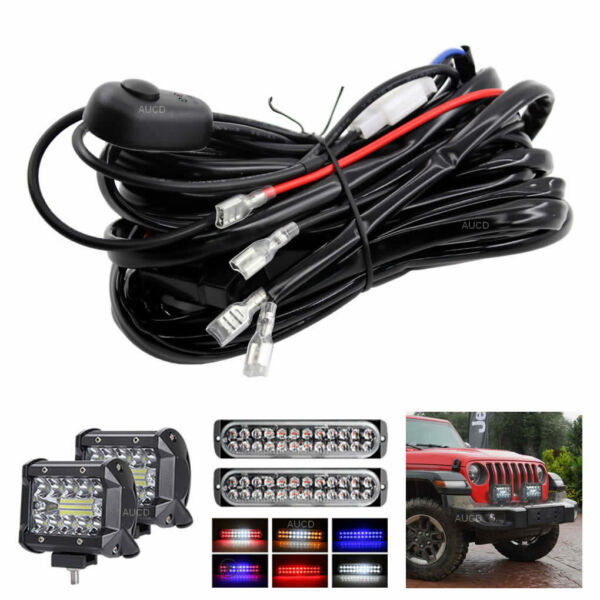 2 LED Driving HID Fog Light Work Lamp Bars Wiring Harness Kit Cable with Switch