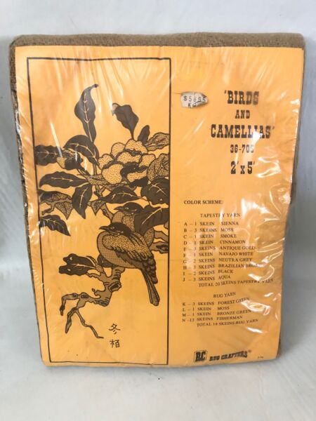 Vtg 1976 RC Rug Crafters Birds and Camellias 36 705 Printed Burlap Tufting 2#x27;x5#x27;