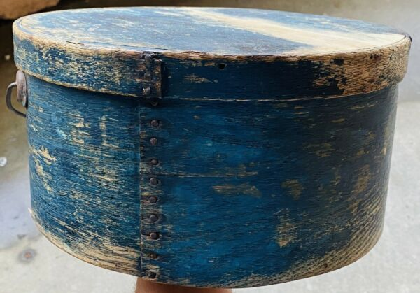 "Early 1800's Antique Exceptional Blue Pantry Box 11"" Original Paint w Handle"