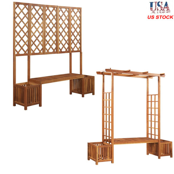 Solid Acacia Wood Garden Pergola with Bench and Planter Trellis Box Pot Seat US