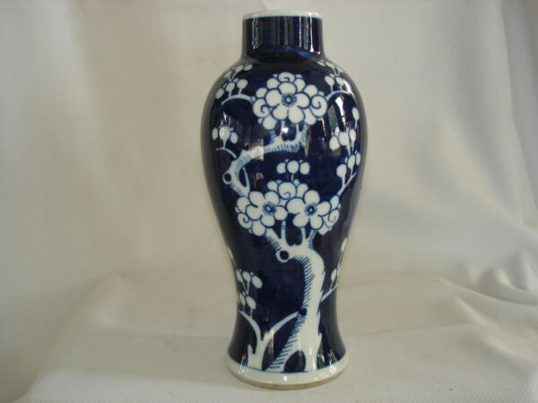 Antique Chinese Blue amp; White Prunus Blossom Vase with Double Ring on Base $39.00