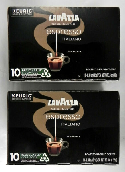 2 New 10 ct Boxes Lavazza quot;Espresso Italianoquot; K Cup Pods Roasted Coffee Keurig