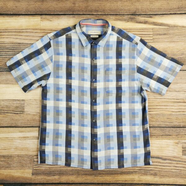 Tommy Bahama Men#x27;s Large Shirt Silk Cotton Button up Abstract Check Blue $18.99