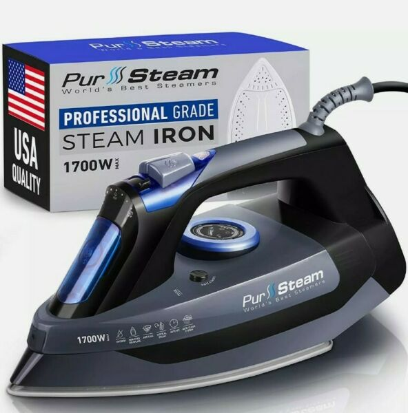 Professional Grade 1700W Steam Iron For Clothes With Rapid Even Heat Scratch Res