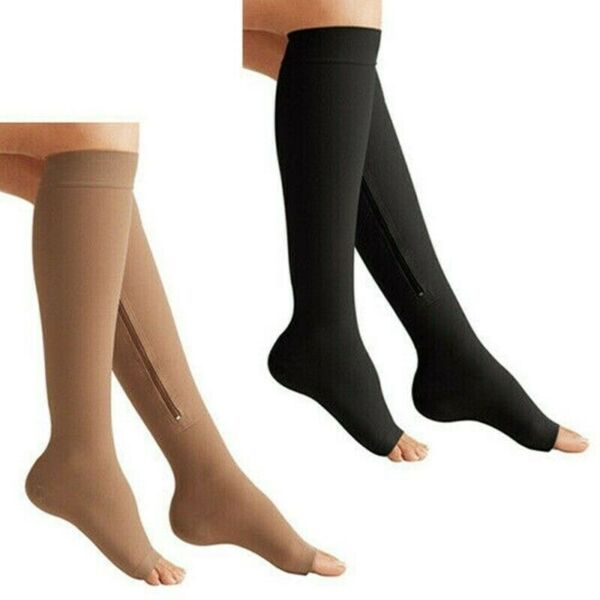 US Compression Socks Women Men OPEN TOE Knee High Leg Support Stockings S M L XL