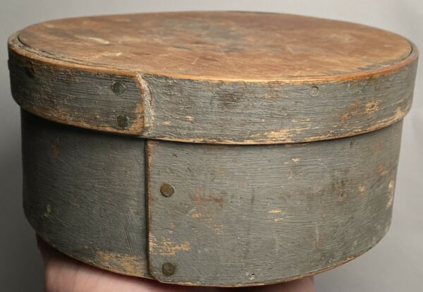 "Early 1800's Primitive Round Small Gray Pantry Box 6"" Diameter Fantastic Patina"