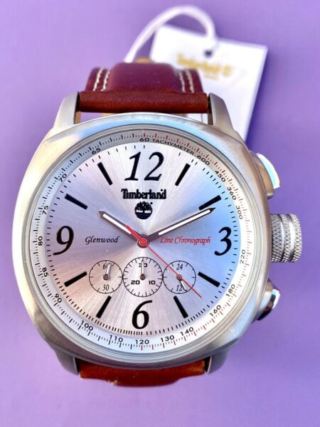 Timberland Men#x27;s Wrist Watch Leather Strap Brown Line Chronograph Glenwood $59.00