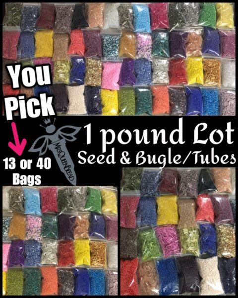 ✨455g✨Random Bag Mix ALL Glass Seed Beads amp; Bugles Tubes Lot 13 OR 40🖤1 Pound $16.19