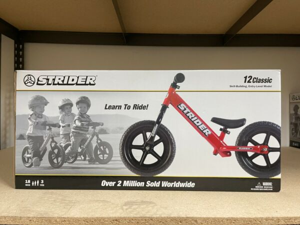 STRIDER CLASSIC 12quot; BALANCE BIKE FOR KIDS NO PEDAL LEARNING BIKE RED NEW $87.99