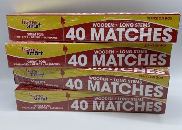 Wooden Long Stem Matches 12quot; Home Smart Strike On Box Matches 4 Boxes New