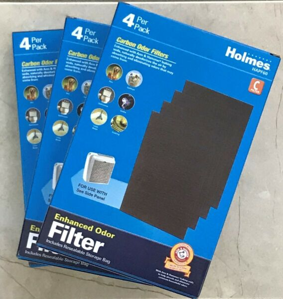 Genuine Holmes HAPF60 Carbon Odor Filters Lot of 3 Boxes Total of 12 Filters $24.00