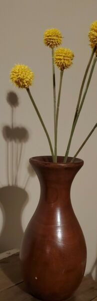 Vintage Hand Turned Wooden Vase Ten Inches Tall