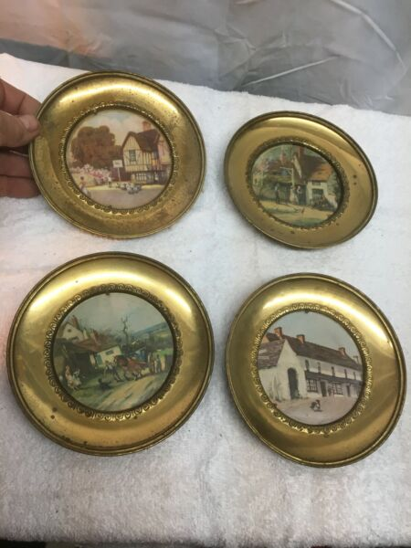 Set 4 vintage brass Country Cottage wall art deco plates made in England 5.5in