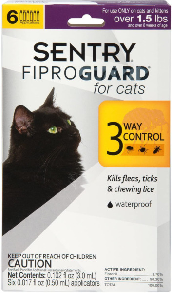 Sentry Fiproguard for Cats Flea and Tick Prevention for Cats 3 Way Control $19.99