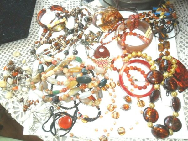 VTG AGATE AMBER Faux Real925 Earringssigned rhinestone Xmas tree Necklaces