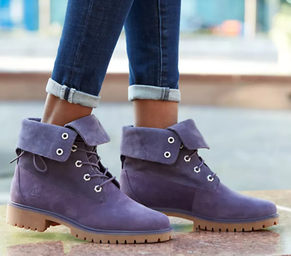 Timberland Jayne Fold Down Boots Women Size 8.5 Purple Roll Top A1XC2 $108.00