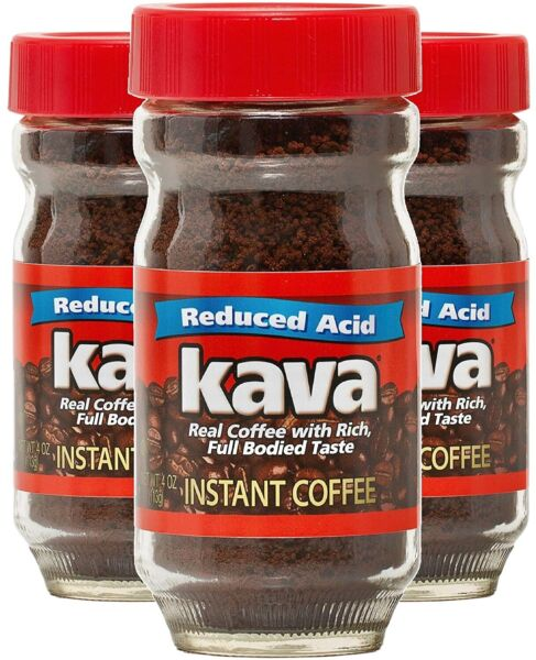 Kava Acid Reduced Instant Coffee in Glass Jar 4 Ounce Pack of 3