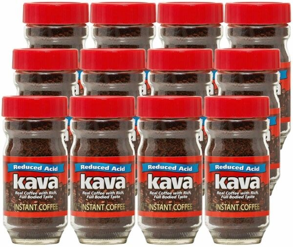 Kava Acid Reduced Instant Coffee in Glass Jar 4 Ounce Pack of 12