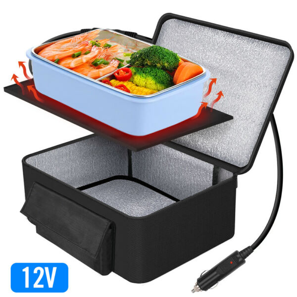 Portable Food Warmers Electric Heater Lunch Box Mini Oven 12V Car Power Black $25.64